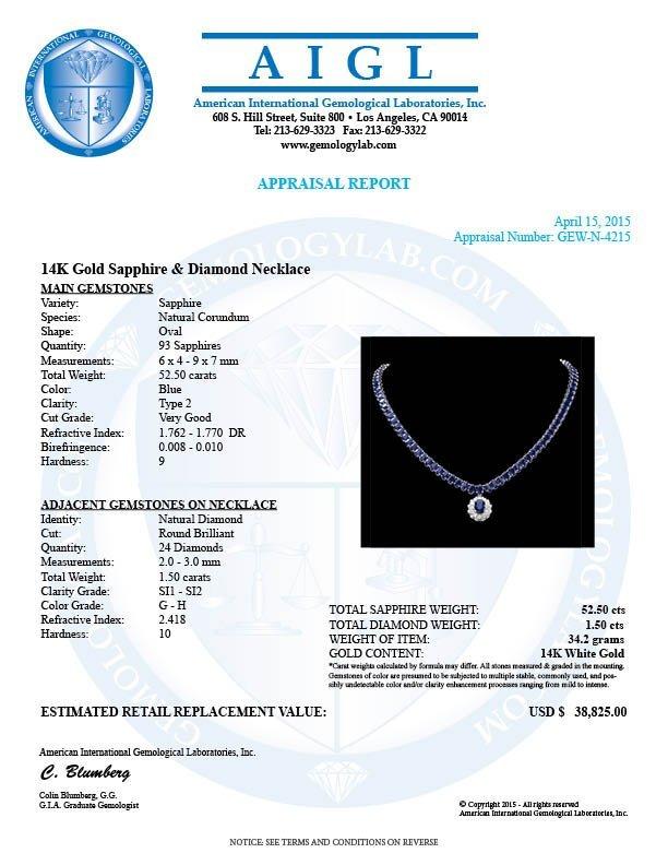 14k Gold 52.5ct Sapphire 1.50ct Diamond Necklace - 7