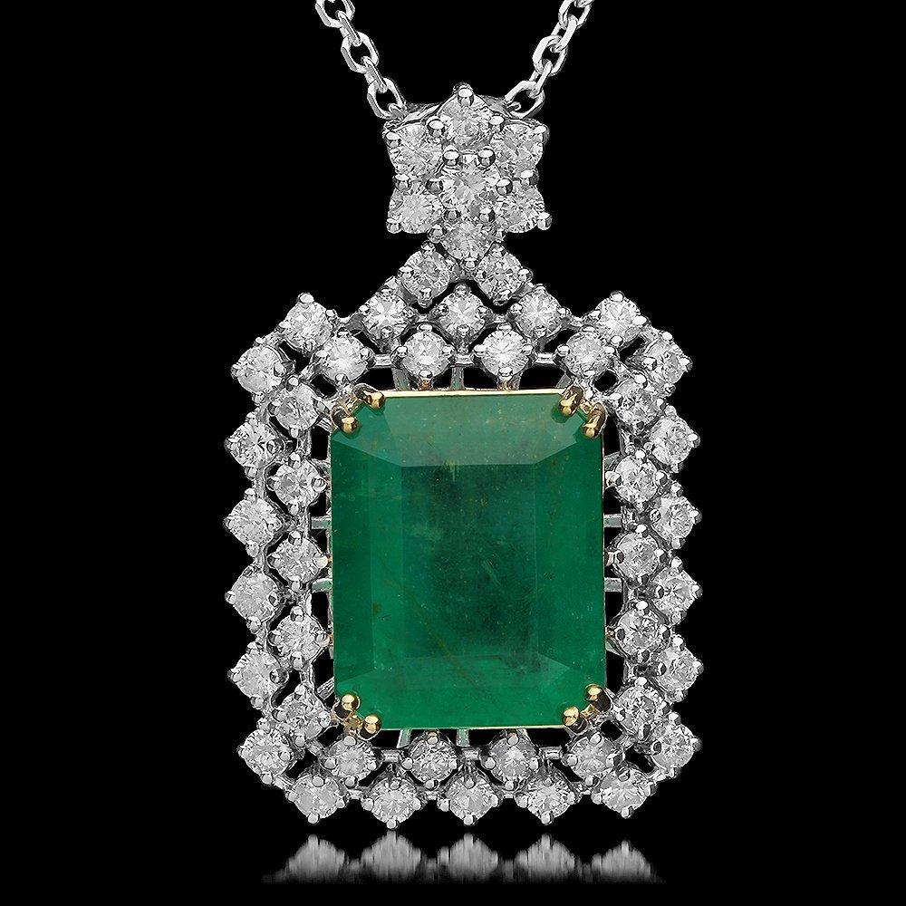 14K Gold 9.35ct Emerald 2.00ct Diamond Pendant