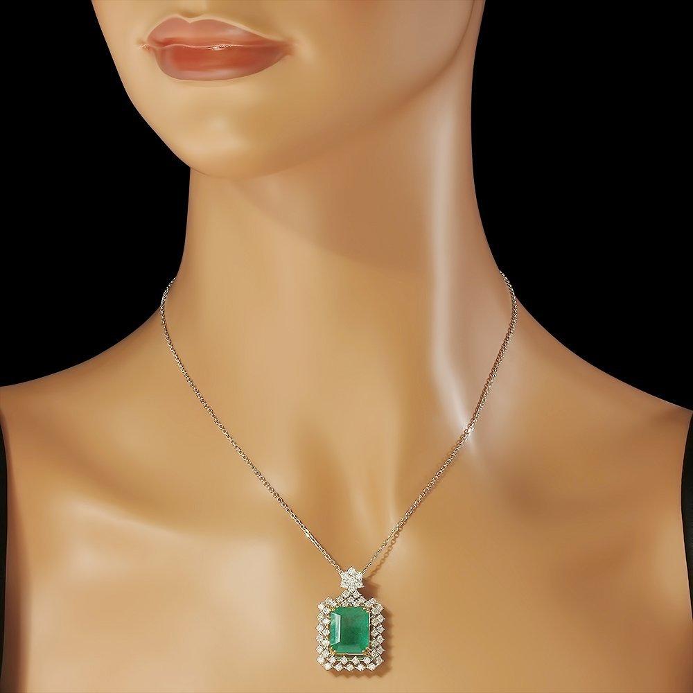 14K Gold 9.35ct Emerald 2.00ct Diamond Pendant - 2