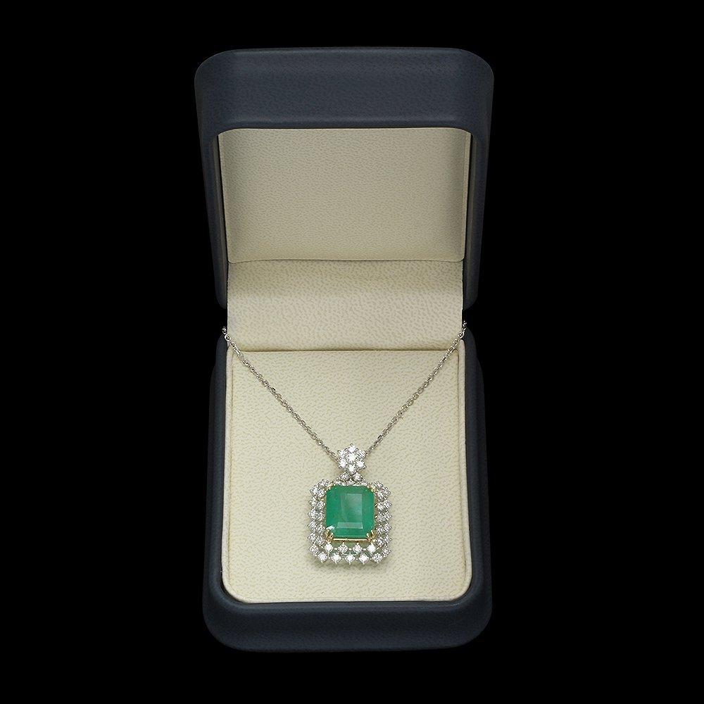 14K Gold 9.35ct Emerald 2.00ct Diamond Pendant - 3
