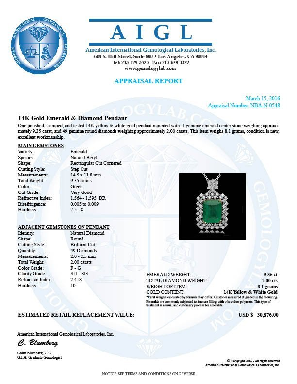 14K Gold 9.35ct Emerald 2.00ct Diamond Pendant - 4