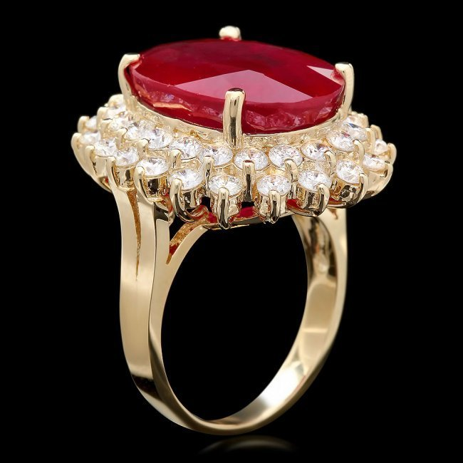 14k Yellow Gold 18.00ct Ruby 2.40ct Diamond Ring - 3