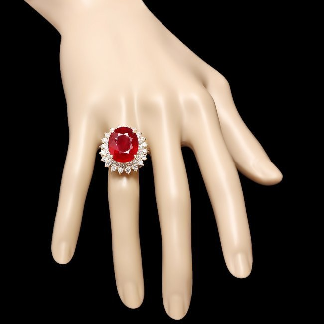 14k Yellow Gold 18.00ct Ruby 2.40ct Diamond Ring - 4