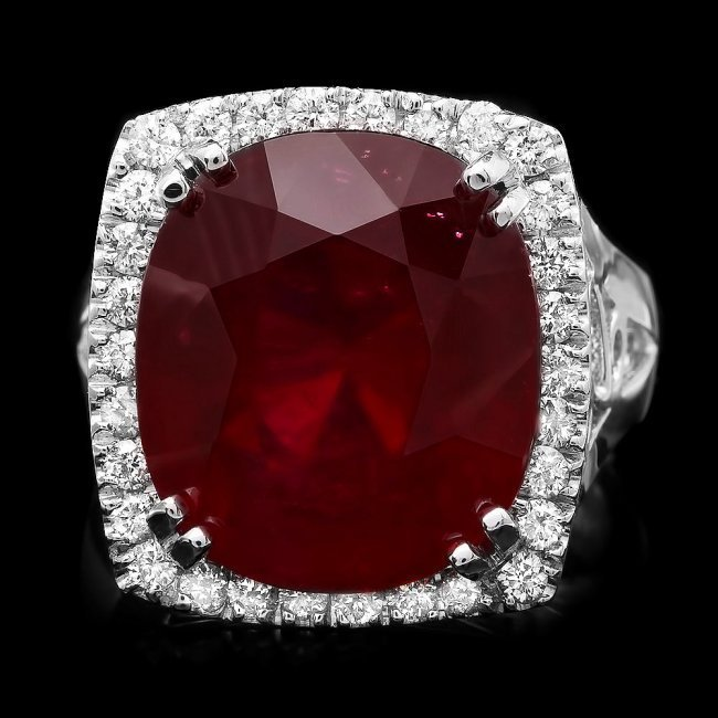 14k White Gold 19.50ct Ruby 0.70ct Diamond Ring - 2