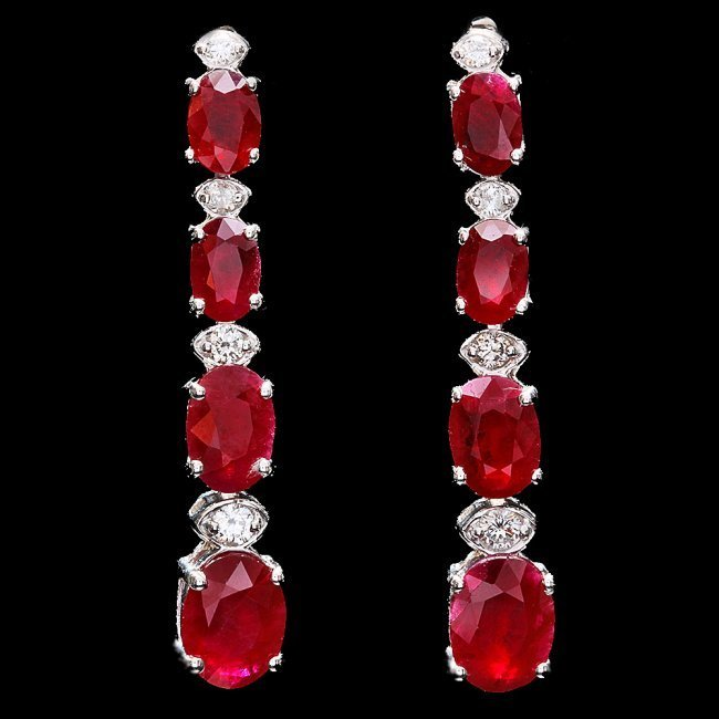 14k Gold 7.00ct Ruby 0.30ct Diamond Earrings - 3