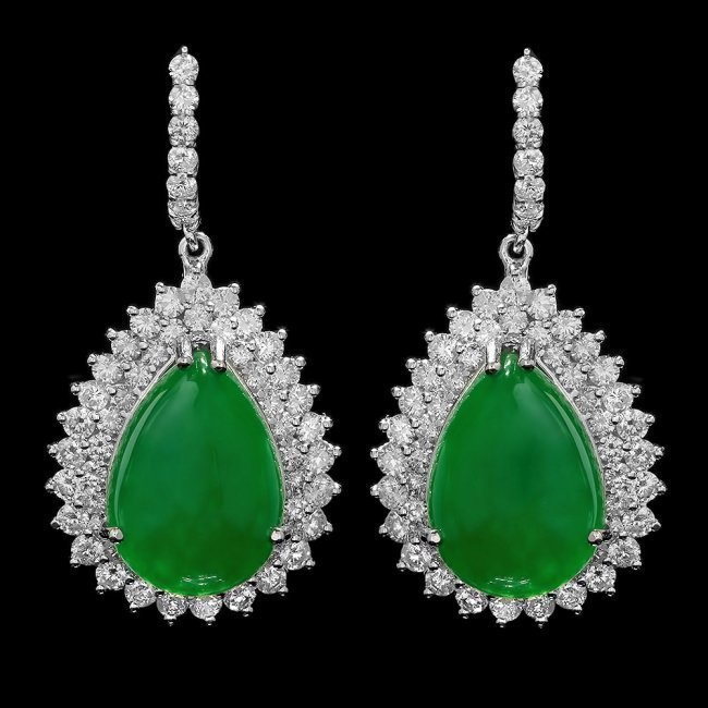 14k Gold 22.50ct Jade 5.15ct Diamond Earrings