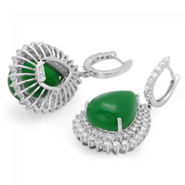 14k Gold 22.50ct Jade 5.15ct Diamond Earrings - 2