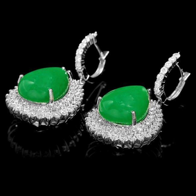 14k Gold 22.50ct Jade 5.15ct Diamond Earrings - 3