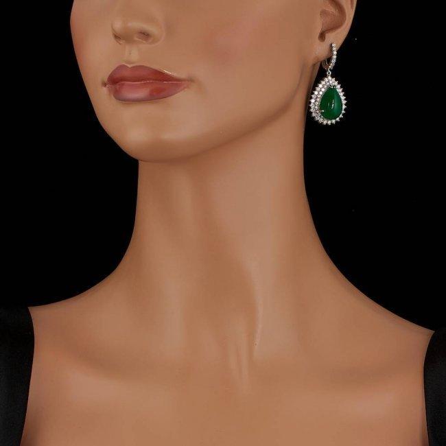 14k Gold 22.50ct Jade 5.15ct Diamond Earrings - 4