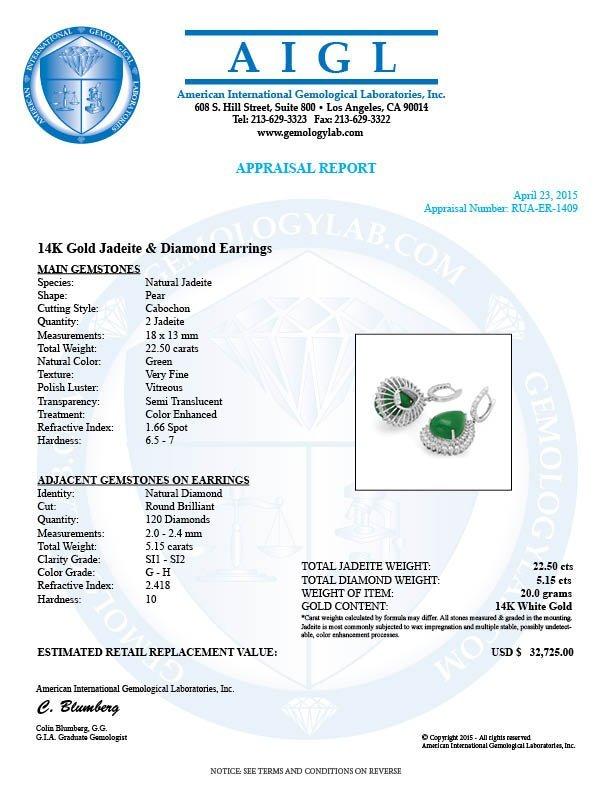14k Gold 22.50ct Jade 5.15ct Diamond Earrings - 5