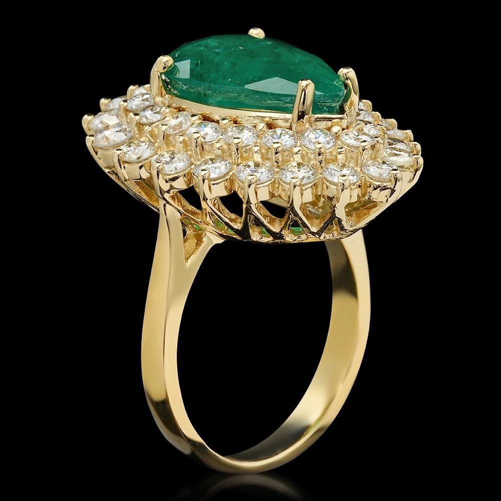 14K Gold 5.37ct Emerald 2.72ct Diamond Ring - 2
