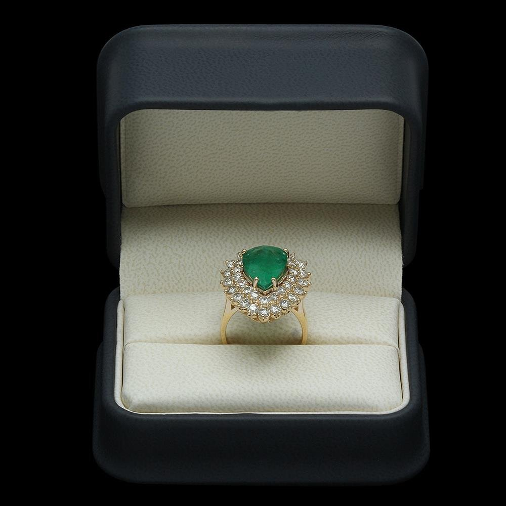 14K Gold 5.37ct Emerald 2.72ct Diamond Ring - 4