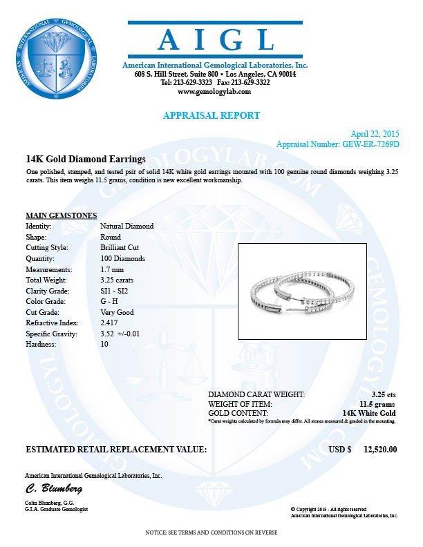 14k White Gold 3.25ct Diamond Earrings - 5