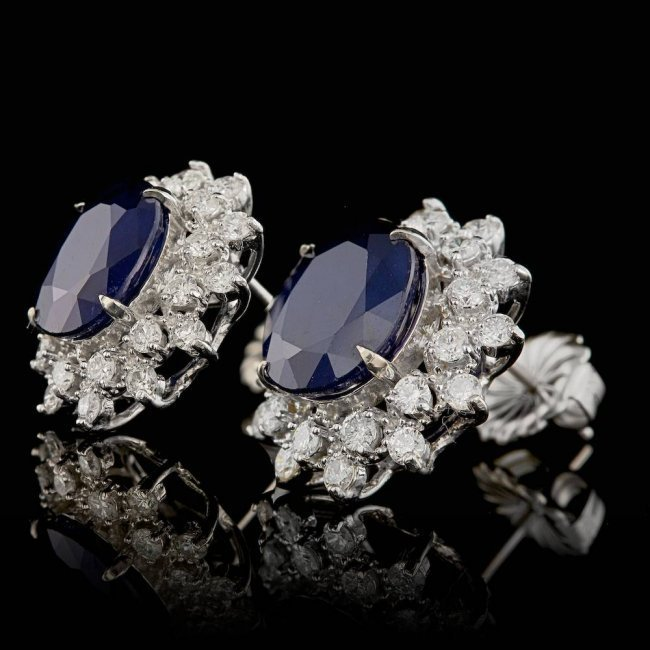 14k Gold 7.00ct Sapphire 1.30ct Diamond Earrings - 2