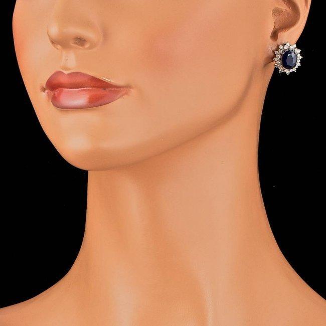 14k Gold 7.00ct Sapphire 1.30ct Diamond Earrings - 3