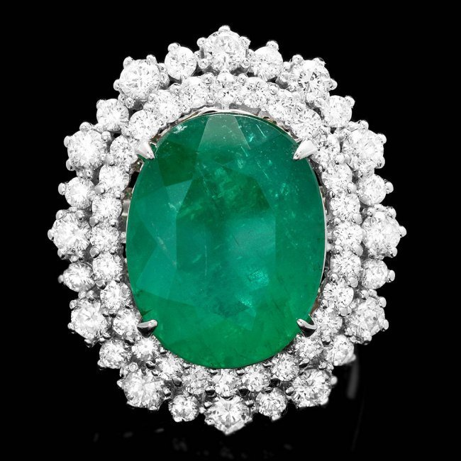 14k White Gold 8.10ct Emerald 1.80ct Diamond Ring