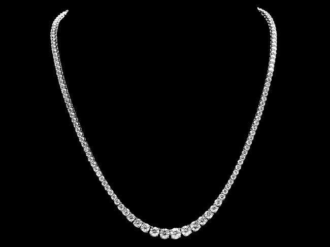 18k White Gold 13.00ct Diamond Necklace - 2
