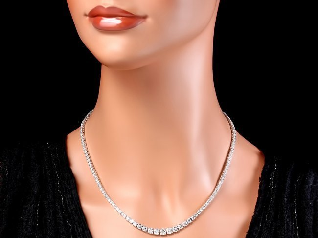 18k White Gold 13.00ct Diamond Necklace - 4
