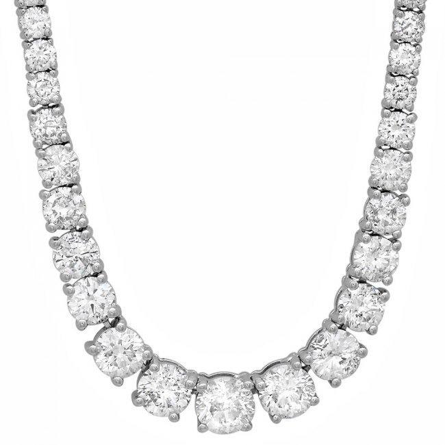 18k White Gold 13.00ct Diamond Necklace - 6