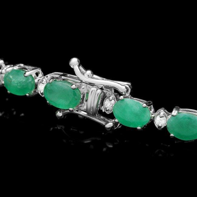 14k Gold 11.50ct Emerald 0.65ct Diamond Bracelet - 2