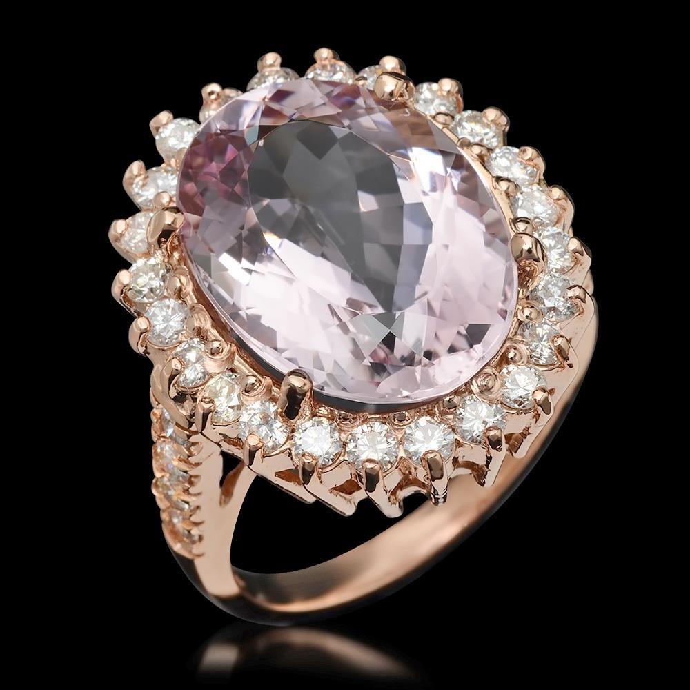 14K Gold 11.06ct Kunzite 1.45ct Diamond Ring