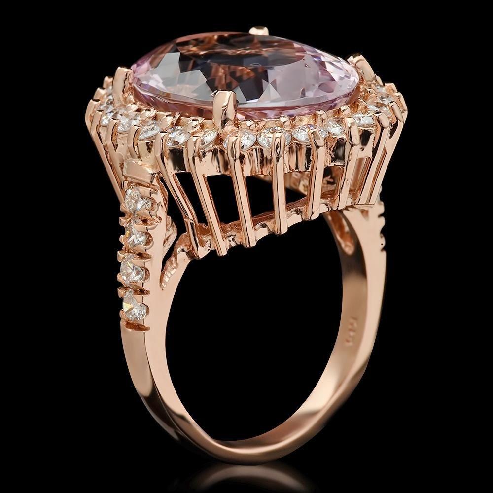 14K Gold 11.06ct Kunzite 1.45ct Diamond Ring - 2