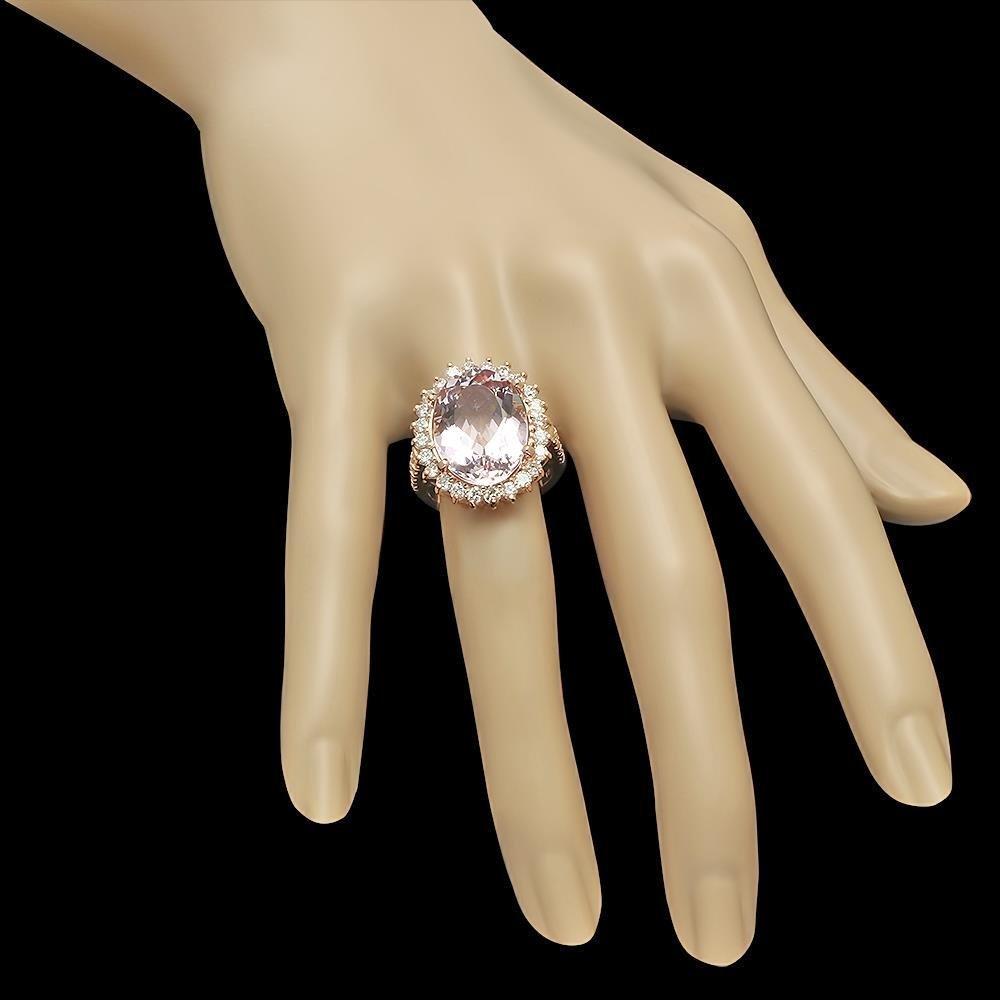 14K Gold 11.06ct Kunzite 1.45ct Diamond Ring - 3