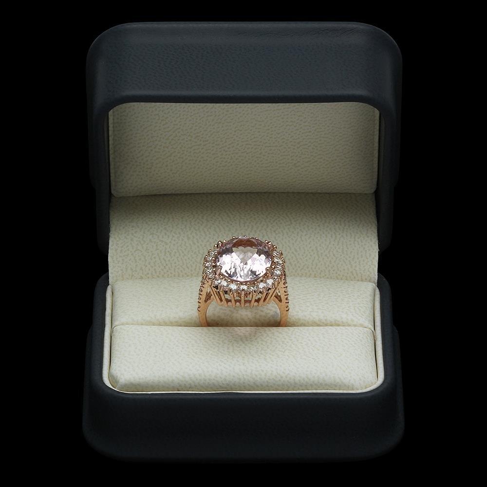 14K Gold 11.06ct Kunzite 1.45ct Diamond Ring - 4