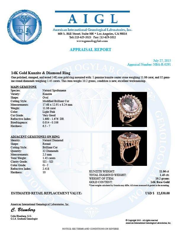 14K Gold 11.06ct Kunzite 1.45ct Diamond Ring - 5