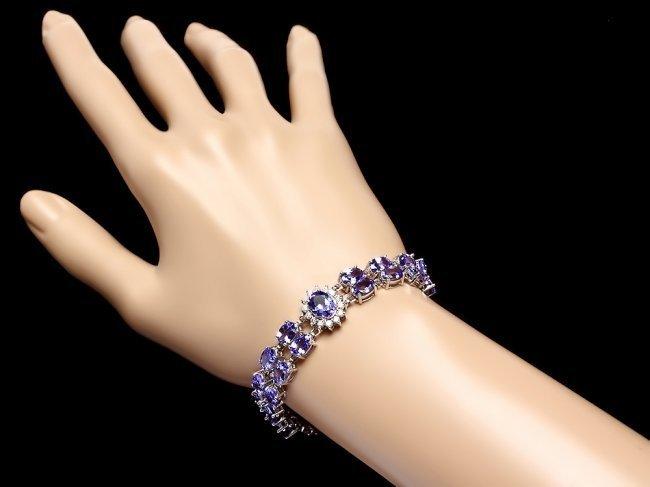 14k W Gold 29ct Tanzanite 1.40ct Diamond Bracelet - 5