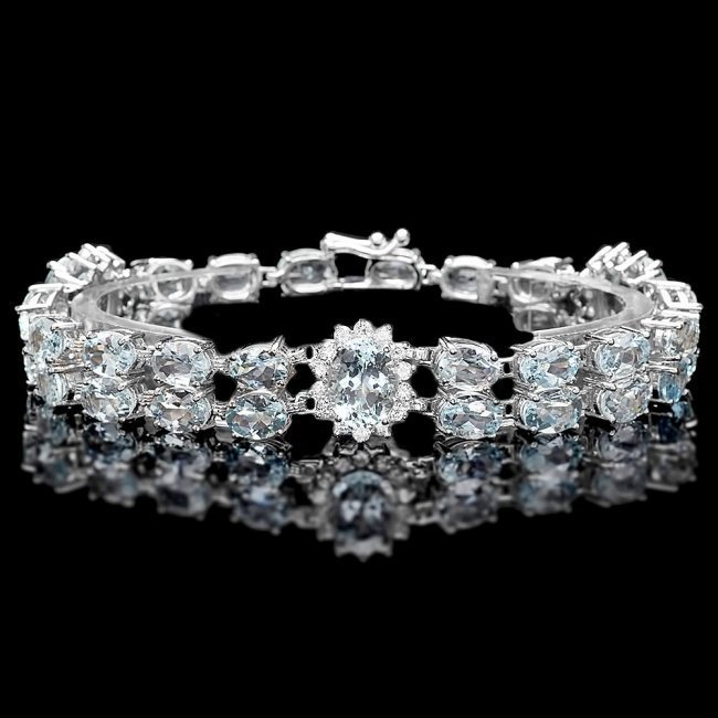 14k Gold 26ct Aquamarine 1.50ct Diamond Bracelet