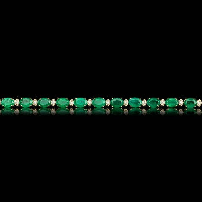 14k Gold 14.00ct Emerald 1.00ct Diamond Bracelet - 5