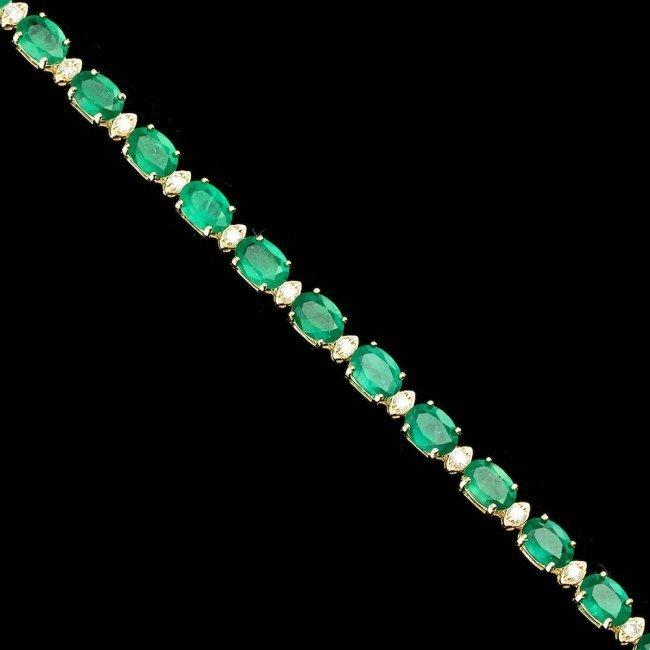 14k Gold 14.00ct Emerald 1.00ct Diamond Bracelet - 6
