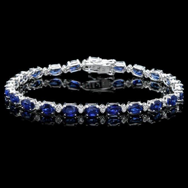 14k Gold 12.00ct Sapphire 0.55ct Diamond Bracelet
