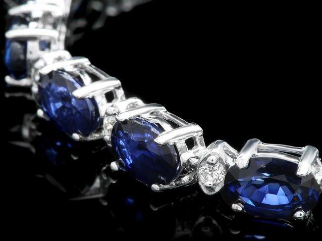 14k Gold 12.00ct Sapphire 0.55ct Diamond Bracelet - 2