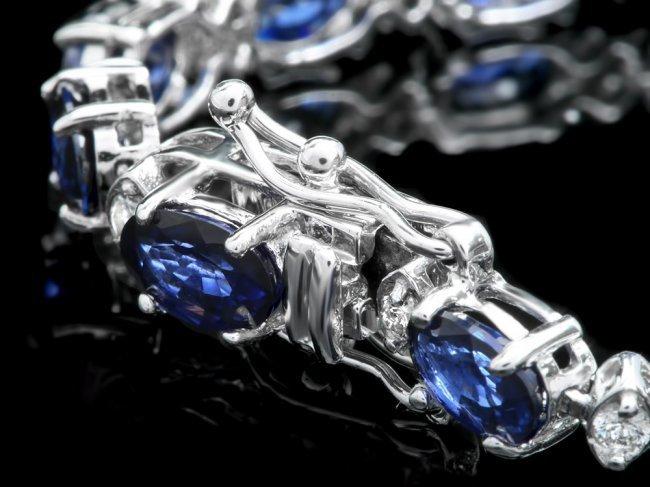 14k Gold 12.00ct Sapphire 0.55ct Diamond Bracelet - 3