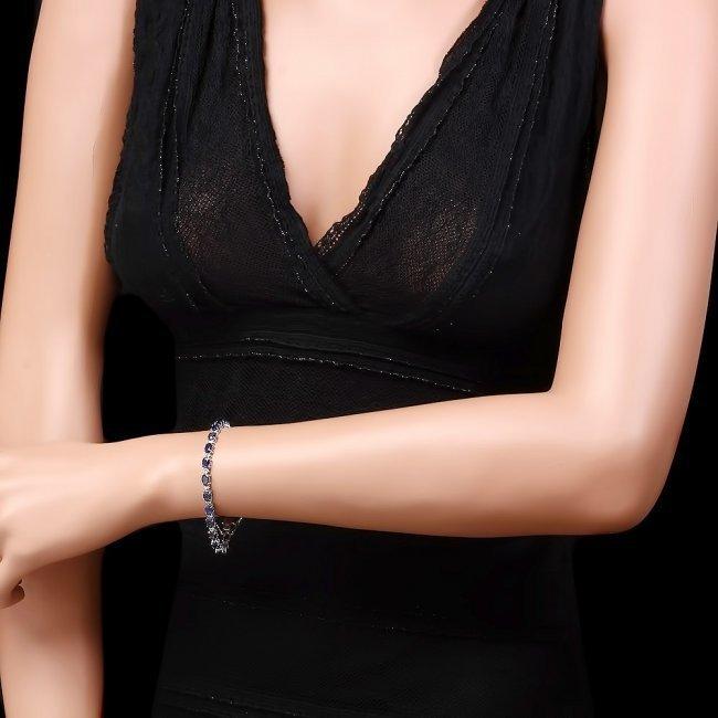 14k Gold 12.00ct Sapphire 0.55ct Diamond Bracelet - 4