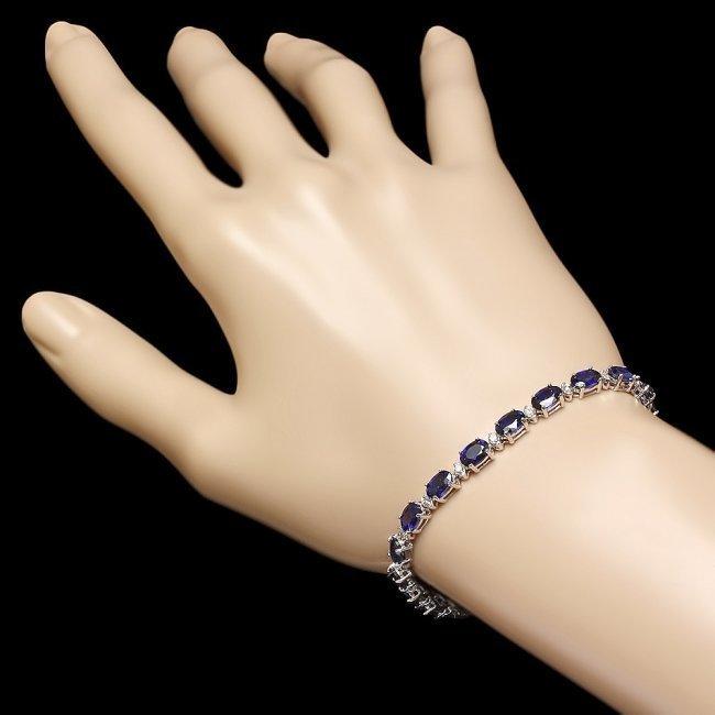 14k Gold 12.00ct Sapphire 0.55ct Diamond Bracelet - 5
