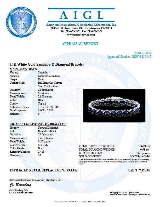 14k Gold 12.00ct Sapphire 0.55ct Diamond Bracelet - 6