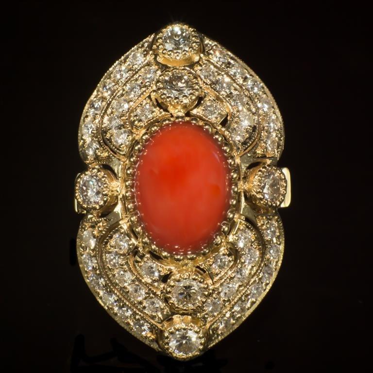 14K Gold 5.07ct Coral 2.72ct Diamond Ring