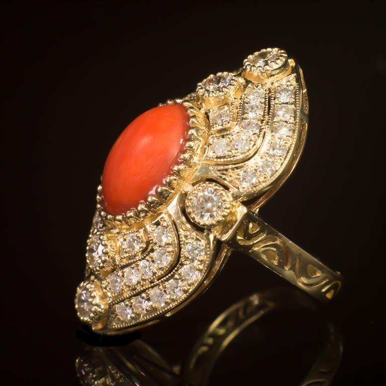 14K Gold 5.07ct Coral 2.72ct Diamond Ring - 2