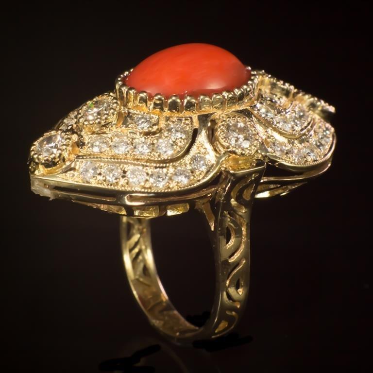 14K Gold 5.07ct Coral 2.72ct Diamond Ring - 3