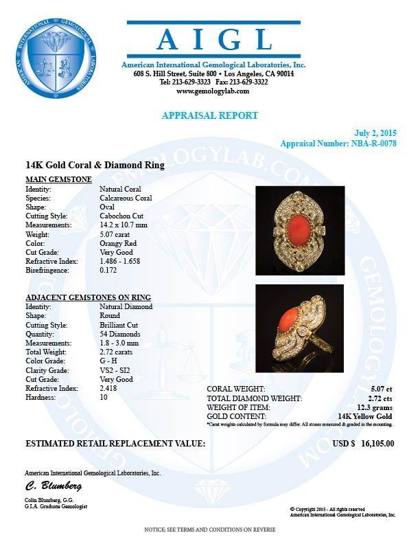 14K Gold 5.07ct Coral 2.72ct Diamond Ring - 4