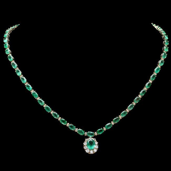 14k Gold 24ct Emerald 2.00ct Diamond Necklace