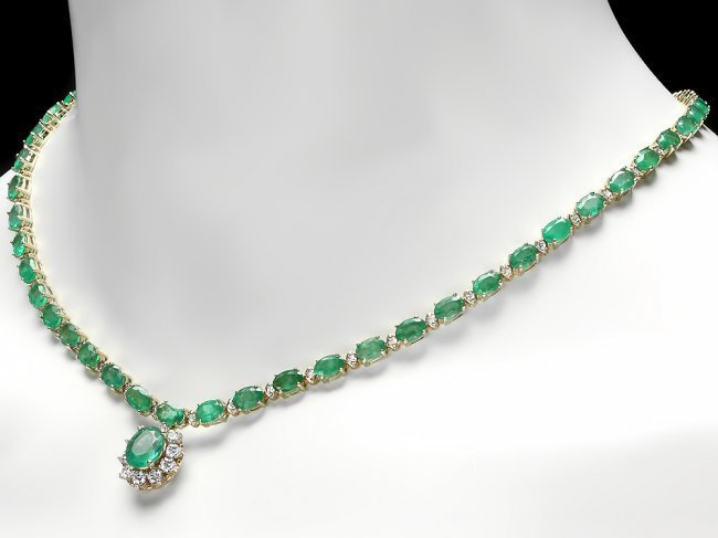 14k Gold 24ct Emerald 2.00ct Diamond Necklace - 4