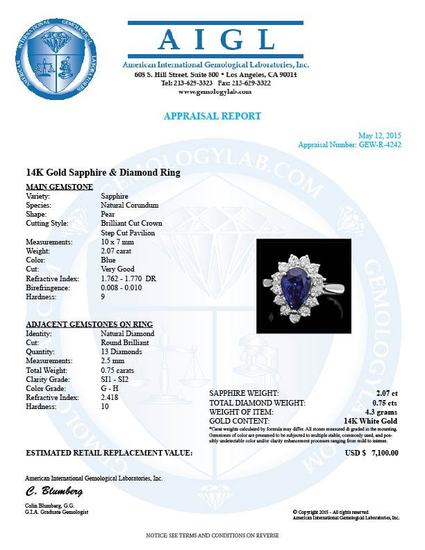 14k Gold 2.07ct Sapphire 0.75ct Diamond Ring - 4