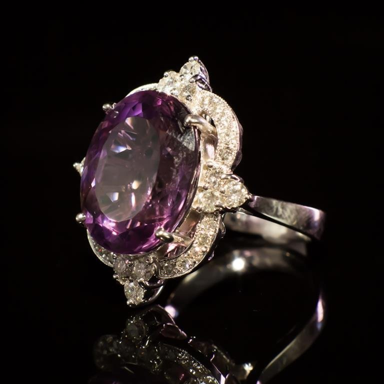 14K Gold 14.96ct Amethyst 1.21ct Diamond Ring - 2