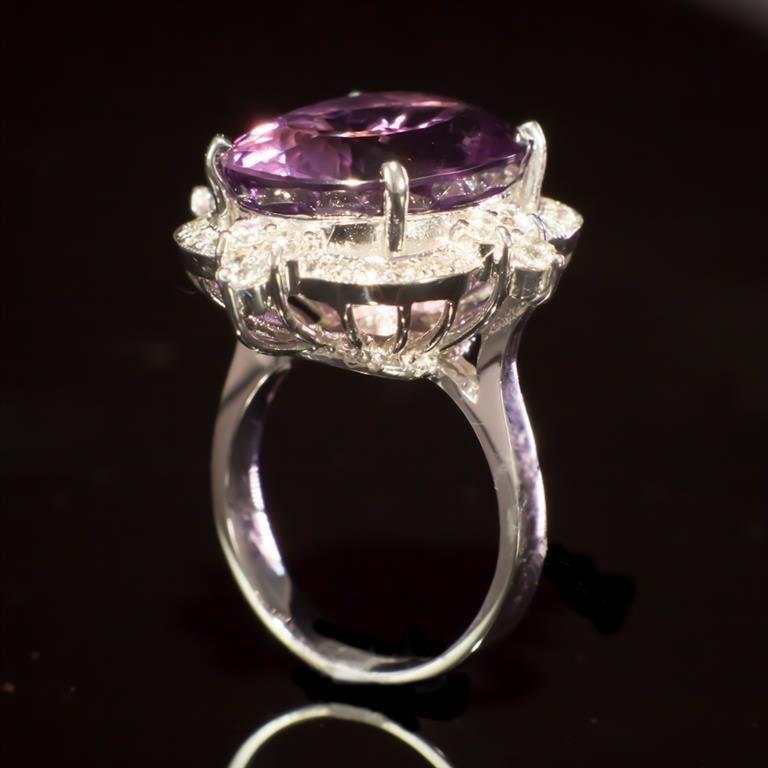 14K Gold 14.96ct Amethyst 1.21ct Diamond Ring - 3