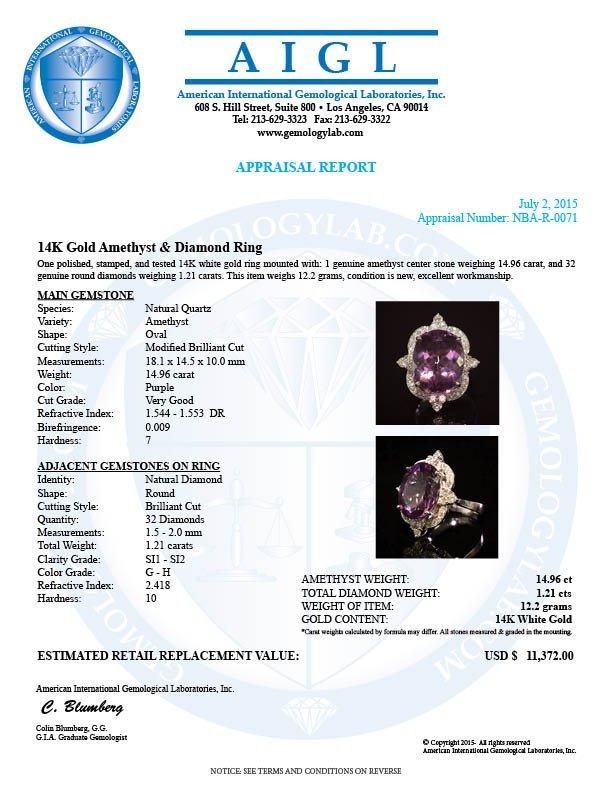 14K Gold 14.96ct Amethyst 1.21ct Diamond Ring - 4