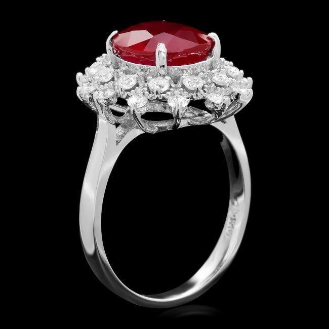 14k White Gold 4.00ct Ruby 0.70ct Diamond Ring - 2